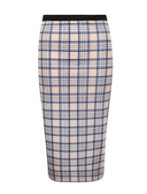 Womens Ladies High Waisted Tartan Check Bodycon Pencil