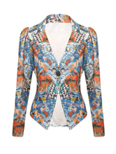 Womens Ladies Floral Graffiti Print Button Jacket Party