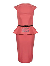 Womens Cap Sleeve Bodycon Stretch Frill Shift Peplum