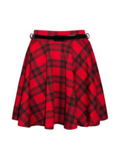 Womens Ladies Red Tartan Flared Elasticate​d Belted Mini