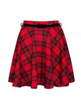 Womens Ladies Red Tartan Flared Elasticated Belted Mini