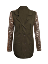 New Womens Celebrity Military Style Ladies Khaki Gold
