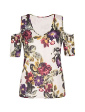 Womens Cut Out Shoulder Floral Flower Print Top High