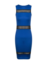 New Womens Ladies Sheer Mesh Panel Stretch Bodycon Mini